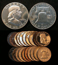 Roll of 20 Choice To GEM Proof 1962 Franklin Half Dollars Some Cameos Included