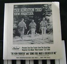 KINGSTON TRIO*FRANK SINATRA New Frontier Capitol 33rpm Compact 1962 demo copy