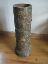 More details for antique terracotta drain pipe covered all over with cigar and other labels