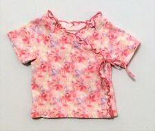 Baby Lulu Floral Print Pink Kimono Cotton Knit Wrap Short Sleeve Top, 6 mos.
