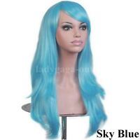 Thick Long Ombre Cosplay Wig with Bangs Curly Straight Wig Women Party Costume @