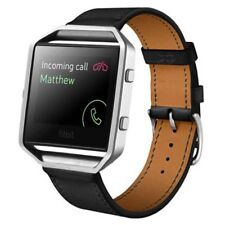 Stainless Steel Metal Frame+Leather Wrist Watch Strap Band For Fitbit Blaze