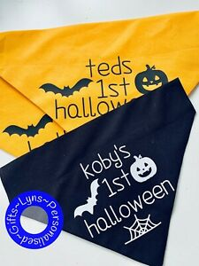 Personalised Halloween Dog Bandana, Add any message choice of 3 sizes