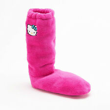 GIRLS PINK HELLO KITTY SLIPPERS SOCKS BOOTS  SHOES SIZE 7 - 3 MEDIUM - LARGE NWT