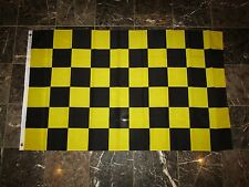 3x5 Black and Yellow Checkered Flag Knitted Poly 3'x5' House Banner Grommets