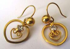 boucles d'oreilles percées bijou vintage couleur or coeur cristal diamant *3423