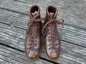 Santoni Monkey Boots brown antique leather effect UK 8 - 8.5 EU 42 Exc condition