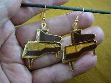 (M319-K) Black or Cedar STEINWAY Piano Drop Earrings JEWELRY 24k goldplate music