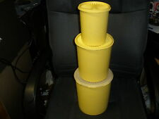 VINTAGE TUPPERWARE GREEN CANISTER SET 805,  807,  811 Yellow