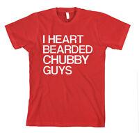 I HEART BEARDED CHUBBY GUYS Unisex Adult T-Shirt Tee Top