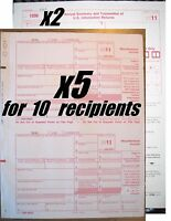 2011 IRS Tax Form 1099-MISC carbonless -- 5 sets for 10 recipients + 2 Form 1096
