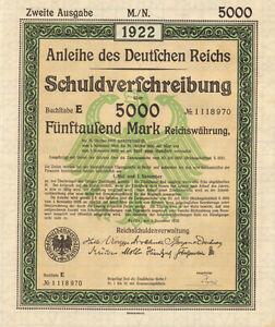 Anleihe des Deutfchen Reichs 1922 German 5,000 marks bond certificate w/ coupons