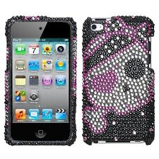 for iPod Touch 4th Gen -Pink Pirate Skull Heart Crystal Diamond Bling Case Cover