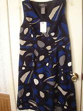 V Neck Black Blue Grey George Dress summer party graduation cruise Misses Size 8