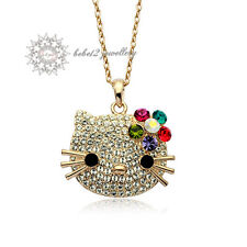 Hello Kitty Cat/Animal Pendant Necklace/Crystal/Rose gold/RGN264G