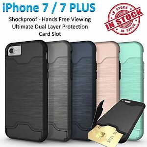 iPhone 7 Case 7 Plus Armor Phone Cover Kickstand Shockproof Tradesman Card