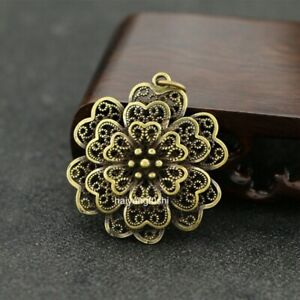 2pcs China Pure copper beautiful Retro multilayer Flowers Small crafts Pendant 花