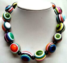 "Bead 18"" Necklace! 4017M Stunning Vintage Estate Enameled"