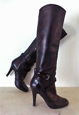 MIU MIU Calzature Donna Size 6.5 M Black Pebbled Leather Knee High Boots Italy