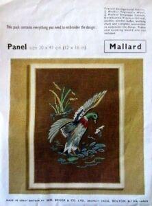 REDUCED mallard bird stamped linen embroidery kit wm briggs penelope FREE SHIP