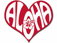 "4"" Heart Red Aloha Sticker Hawaii Hibiscus Native car sticker decal usa made"