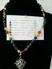 Chakra Multi Gemstone Stainless Steel Necklace with 7 Chakra Charm Pendant