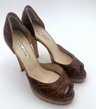 b71889590d Oscar De La Renta Brown Crocodile Platform Leather Pumps Heels Shoes Size  37.5