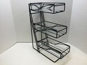 Cal-Mil 3-Tier K-Cups/Condiment Display Black Frame, Acrylic Tubs, FREE SHIPPING