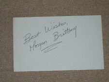 "Morgan Brittany from ""Dallas"" autographed Signature on 3x5 card."
