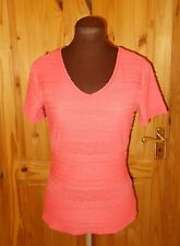 PER UNA coral pink-orange frill v neck short sleeve tunic tshirt top 10 38 BNWOT
