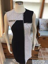 Cut25 Cut 25 Yigal Azrouel Black White Quilted Zipper Sheath Stretch Dress 10