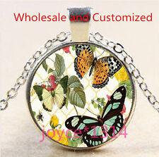 Vintage Butterfly Cabochon Tibetan silver Glass Chain Pendant Necklace #5025