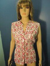 XL white/pink PAISLEY PRINT BUTTON UP blouse by PECK & PECK