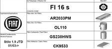 FI16S KIT 4 FILTRI TAGLIANDO  FIAT STILO 1.9 JTD 85 KW 115 CV 2003 IN POI