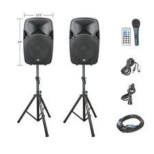 New PRORECK Portable 12Inch 600W 2-Way Powered PA Speaker System w/Stands/USB/SD