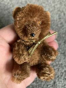"Antique Miniature Jointed Teddy Bear  - 3"" Tall - Dark Brown Mohair - Germany"