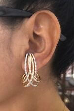 18K Rose, White & Yellow Gold Overlay Earrings 2.62 Cts.