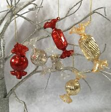6 X Vintage Chic Antique Style Glass Sweet Decoration Christmas Tree Silver Red