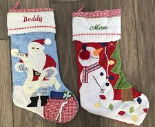 POTTERY BARN KIDS QUILTED CHRISTMAS STOCKINGS DADDY SANTA + MOM SNOWMAN NEW RED