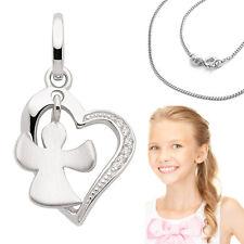 Kinder Zirkonia Herz mit beweglichem Schutz Engel Anhänger mit Kette Silber 925