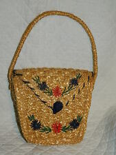 vintage woven Straw purse bag handbag with Flowers straw knot clasp