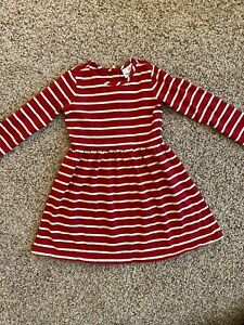 HANNA ANDERSSON STRETCH RED & WHITE LONG SLEEVED DRESS SZ 5 (110) EUC