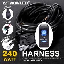 Waterproof LED LIGHT BAR Rocker Switch LED Illuminated + Relay Wiring Harness