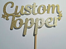 Custom Cake Topper Glitter Card Any Word Name Age Personalised Customised