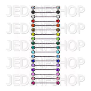 Industrial Barbell Scaffold Bar   1.6mm (14g) - 35mm   Double Gem - Front Facing