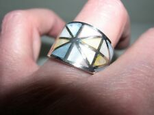 Wide Sterling Silver~Pastel Inlay Mother of Pearl Band Ring~Sz 6~7G