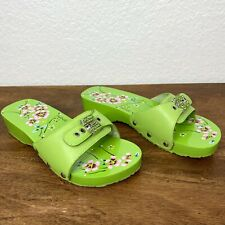 Nine West Vintage Y2K Wooden Leather Shoes Womens size 7 Lime Green Floral