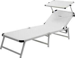 Quality Aluminium Marbella Folding sunbed sun lounger recliner chair white green