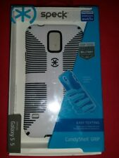 NEW SPECK CandyShell GRIP Case, Samsung Galaxy S5, White / Black (+Temp Glass)