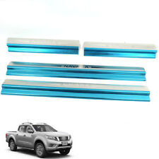 Fit 15+ Nissan Navara NP 300 Pickup Side Step Trim Sill Scuff Plate Chrome 4D
